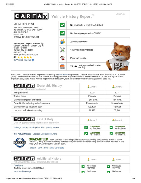 CARFAX Vehicle History Report for this 2005 FORD F150_...