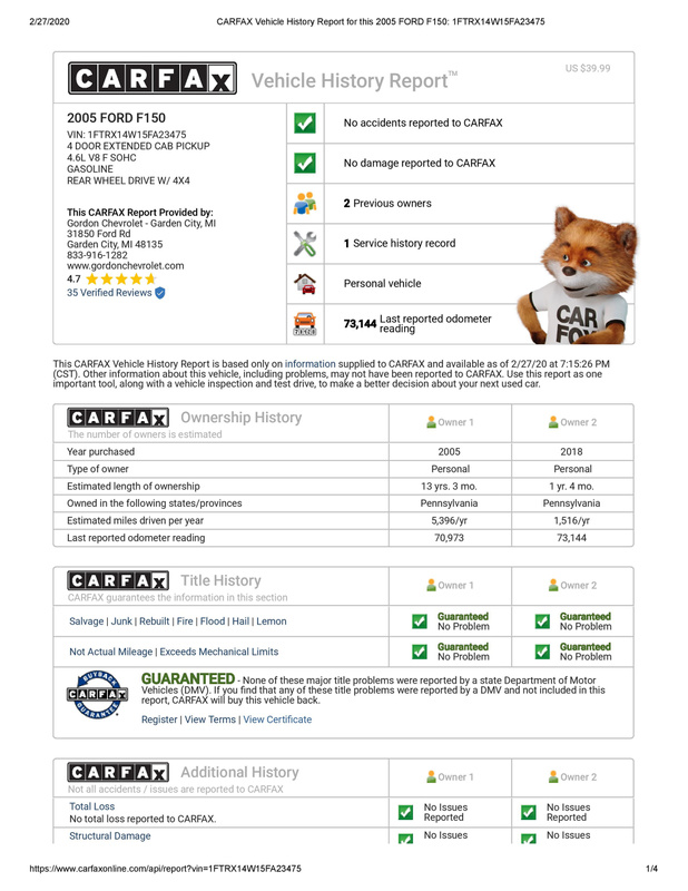 CARFAX Vehicle History Report for this 2005 FORD F150_ 1FTRX14W15FA23475 (1)-page-001