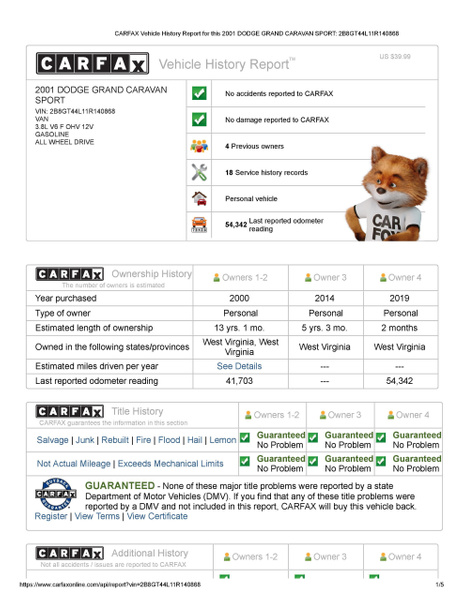 CARFAX Vehicle History Report for this 2001 DODGE GRAND...