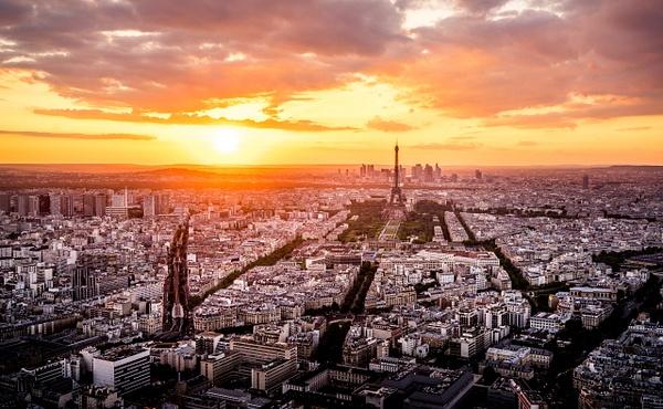 Sunset Paris Montparnasse Eiffel Tower by Serge Ramelli