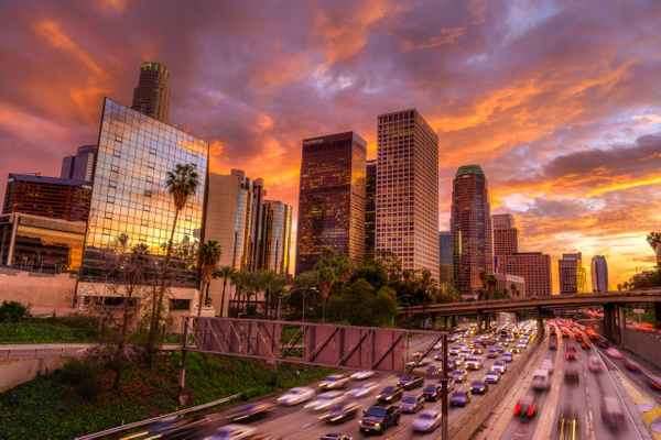 Downtown Los Angeles Burning Sunset by Serge Ramelli
