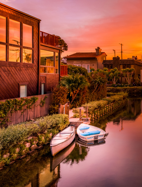 Venice Beach Canals - Boats at Sunset - USA- Dee Potter Photography