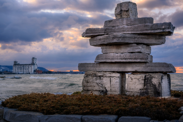 Stone Scupture - Sunset Beach, Collingwood - Canada - Dee Potter Photography