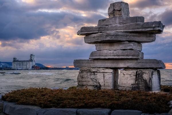 Stone Scupture - Sunset Beach, Collingwood - Land & Sea - Dee Potter Photography