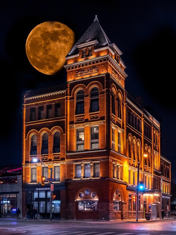 Super Moon Over Broadview Hotel Toronto