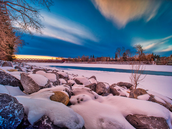 River at sunset in winter - Cityscape -Red Rover Photography