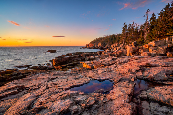 Pink Rocks of evening - Maine Acadia Park - Kirit Vora Photography