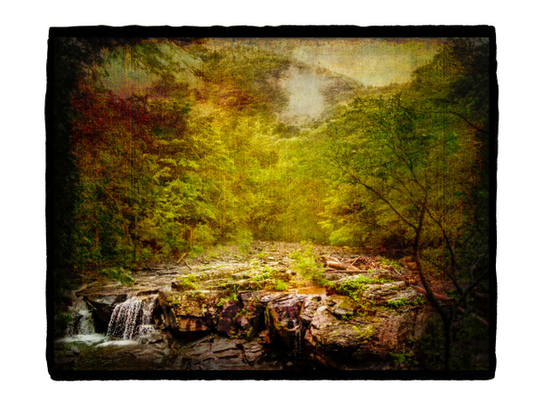 Waterfall, NY on Vellum with Gesso - Special Processes - Joanne Seador Photography