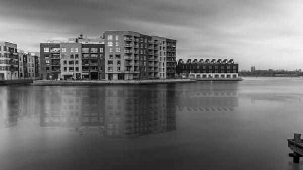 Copenhagen black & white houses by the water reflection - Copenhagen City, denmark