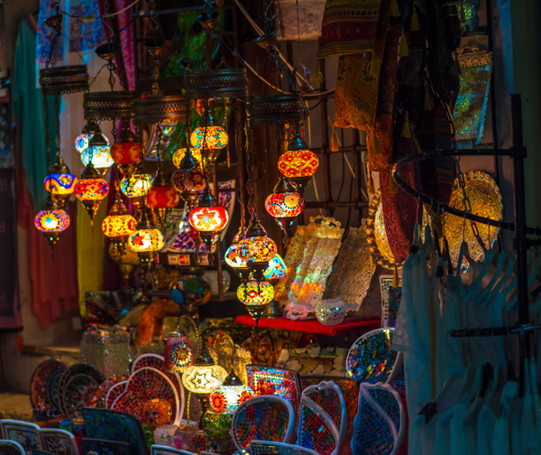 Bosnia, Mostar - Lamps in boutique by Luc Jean