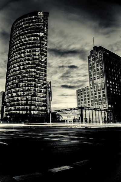 Potsdamer Platz, Berlin - Black and White - Arian Shkaki Photography