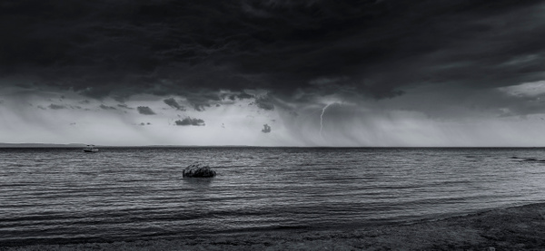 Distance Storm - Black and White - Arian Shkaki Photography