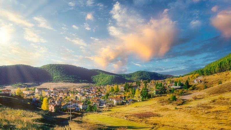 Sunset over the mountain village