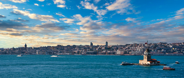 Sunset over Istanbul and the Maiden's Tower