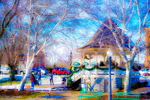 Skaneateles Band Stand - Christmas - Landscape - Jim Krueger Photography