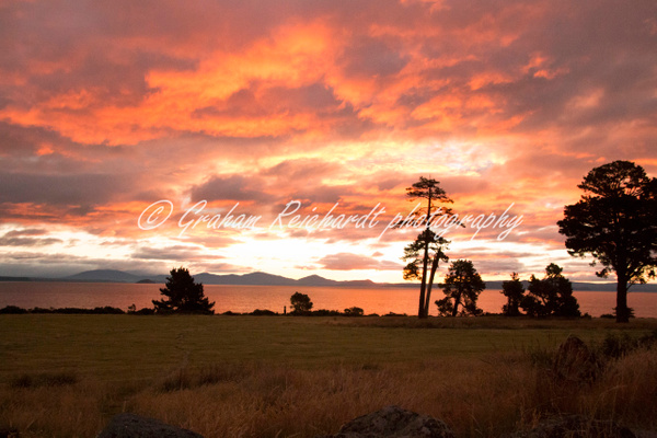 Sunset over lake Taupo  6 - Sunsets - Graham Reichardt Photography