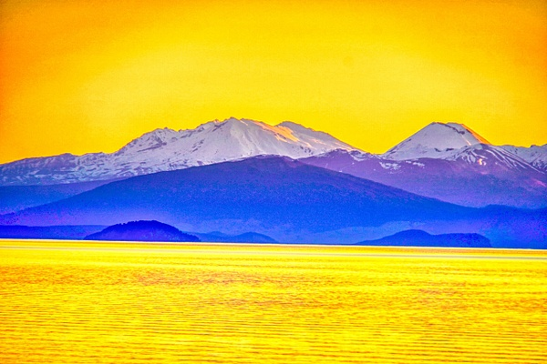 Abstract of mountains and lake Taupo - NZ Scenery - Graham Reichardt Photography