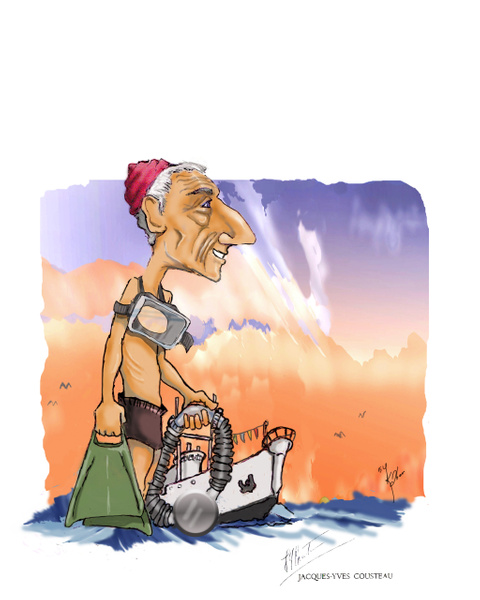 Cousteau Cartoon color - Illustrations - Keith Ibsen Photography
