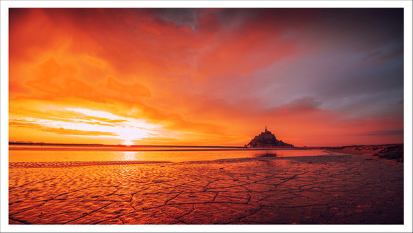 Mont St Michel at sunset