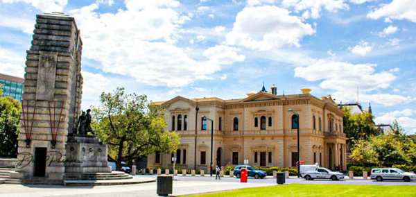 Adelaide War Memorial (front) and State Library by...