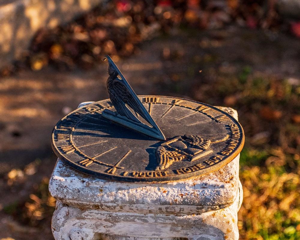 Sundial at sunset