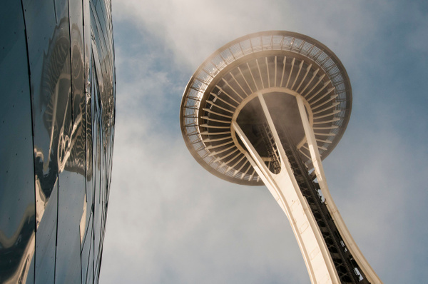 Seattle: The Space Needle and reflection in the Museum of Pop Culture (MoPOP) - Seattle Center - Spotlight: Seattle - Jonathan C. Watson Photography
