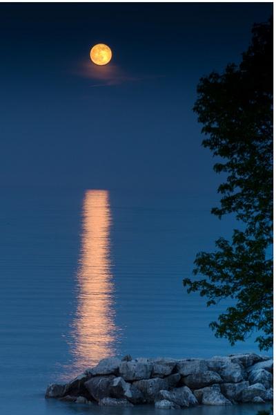 Strawberry Moon, Lake Michigan by Jack Kleinman