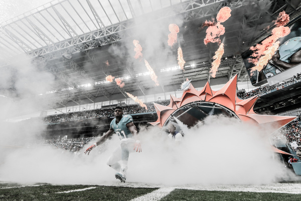 Dolphins player entrance 1 by Scott Kelby