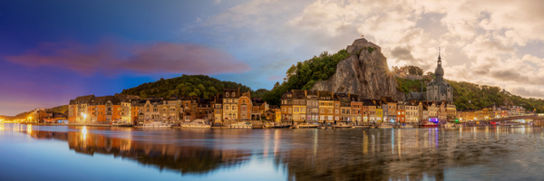 Night to day time blending panorama Dinant