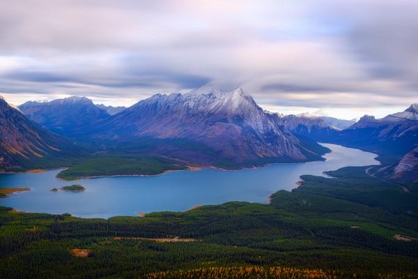 Long Exposure of Spray Lakes and Mount Shark, Kananaskis, Alberta, Canada - Sunrise