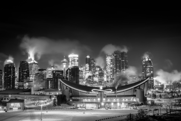 Calgary Very Cold Winter Night Black and White - 2 -1 - Small Group Landscape Photography Workshops of the Canadian Rockies