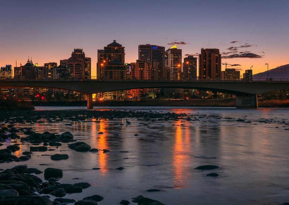Sunrise City of Calgary-Bow River-Alberta Canada