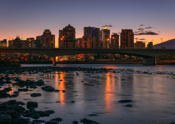 Sunrise City of Calgary-Bow River-Alberta Canada - Small Group Landscape Photography Workshops of the Canadian Rockies