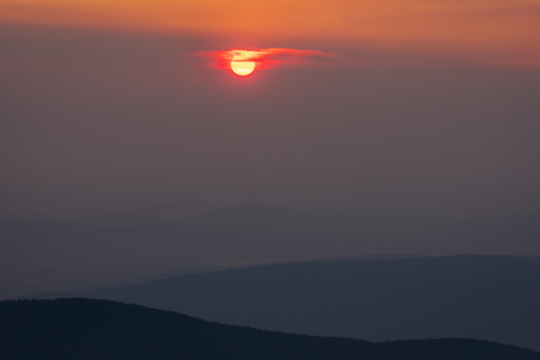 Red Sun during Forest Fire Sunrise Alberta Summer 2021...