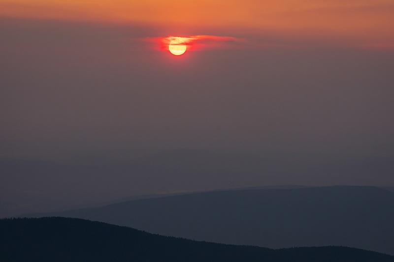 Red Sun during Forest Fire Sunrise Alberta Summer 2021