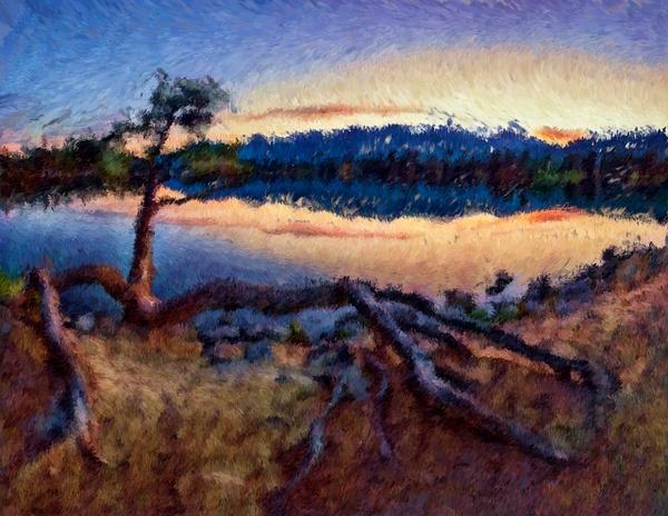 Summer Sunrise Lake Beauvert, Jasper National Park. - Abstract Artwork - Yves Gagnon Photography