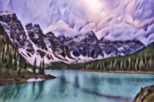 Moraine Lake Under Heavy Storm Clouds - Abstract Artwork - Yves Gagnon Photography