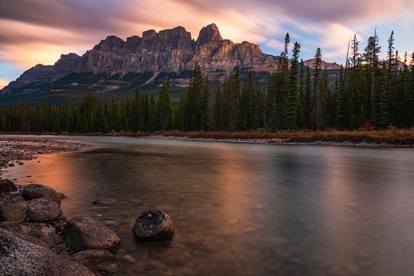 Sunrise, Fall Colors, Castle Mountain, Canadian Rockies,  Banff, Alberta, Canada 2