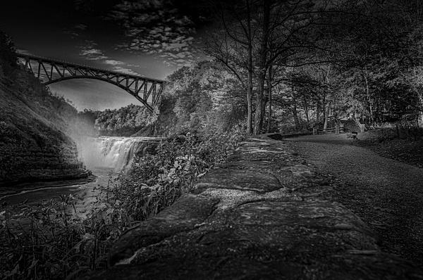 Letchworth High Falls (US1742) - Black White -Bella Mondo Images