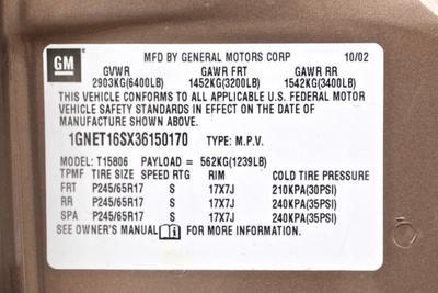 2003 Chevrolet Trailblazer LT 4X4 Sport Utility 4-Door