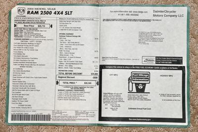 2004 Dodge Ram 2500HD SLT Regular Cab Long Bed 4x4