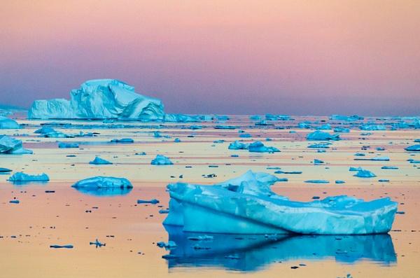 Icebergs Sunset - Landscape -  Steve Juba Photography