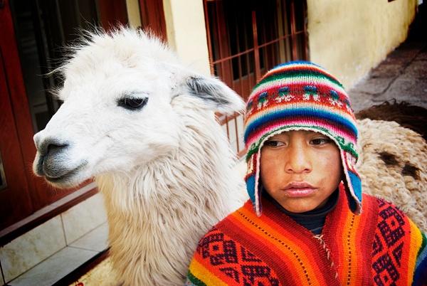 Boy and his lamma - The World - Steve Juba Photography