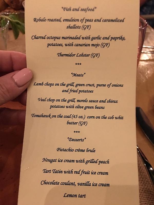 Menu at Private Dinner