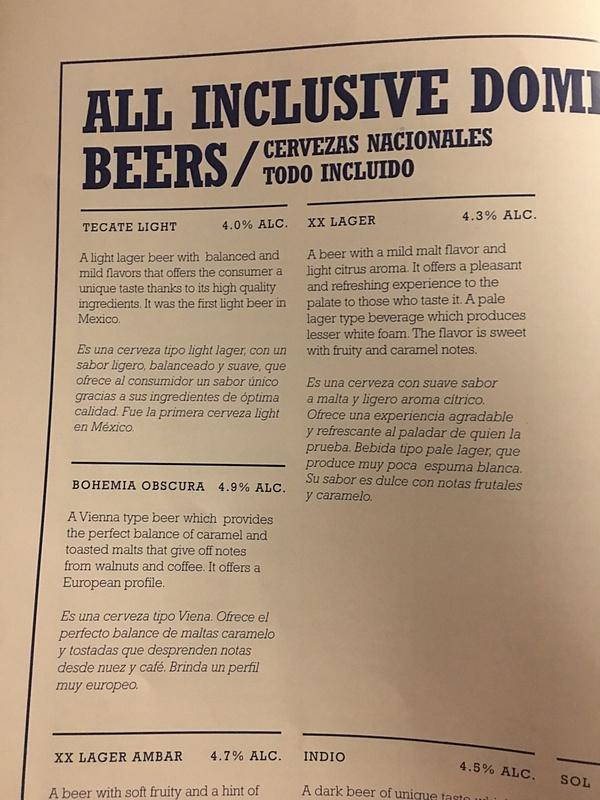 Legends Bar Menu