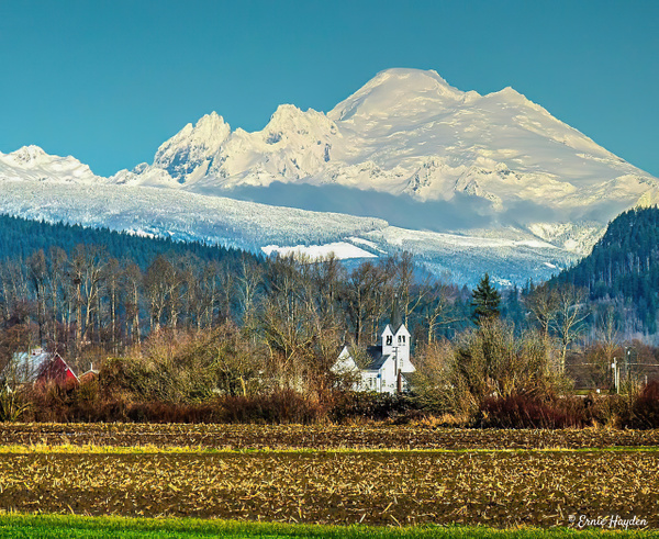 Mt Baker and Church - Landscapes - Rising Moon NW Photography