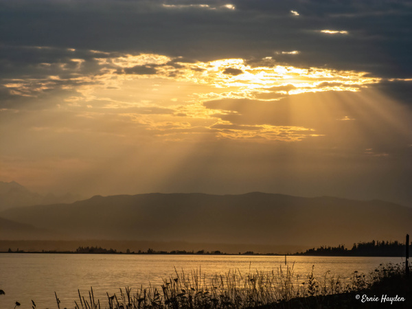 Sunrise Over Padilla Bay - Golden Hour - Rising Moon NW Photography