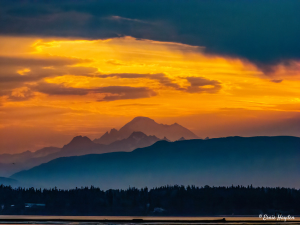 Mount Baker Sunrise - Golden Hour - Rising Moon NW Photography