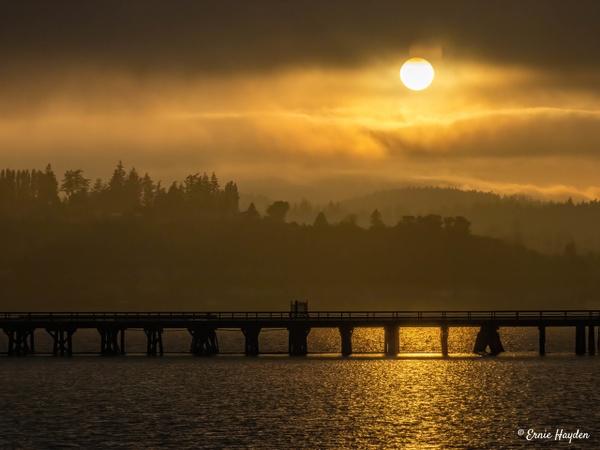 20201007 Sunset Over Foggy Fidalgo Bay-4 - Golden Hour - Rising Moon NW Photography