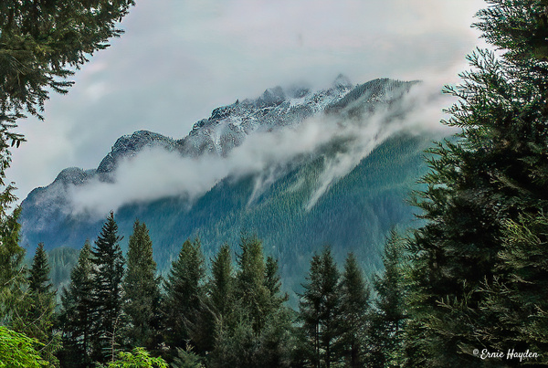 Mt Si - Snow, Misty Clouds - Landscapes - Rising Moon NW Photography